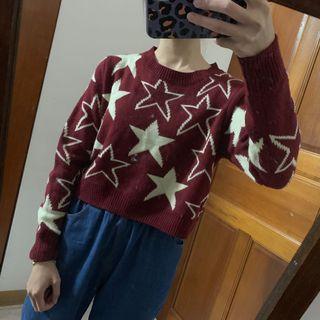 🚚 短板星星針織毛衣上衣
