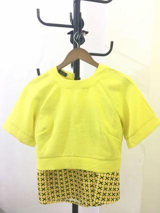 Yellow Crop Top with skirt (sepasang)