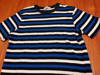 🚚 韓國 質感 彈性 條紋 藍色 白色 黑色 配色 個性 上衣 短袖 短tee