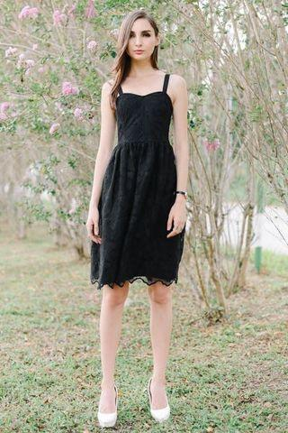 BNWT Fashmob Organza Embroidery Midi dress Black size XS