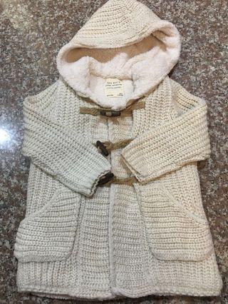 Zara 104cm連帽針織鋪棉外套