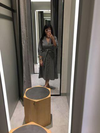 Mango Checked Midi Dress
