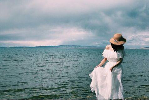輕婚紗 露肩 一字肩 雪紡裙 長裙 Wedding Dress