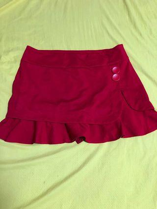 Red Casual Short Skirt