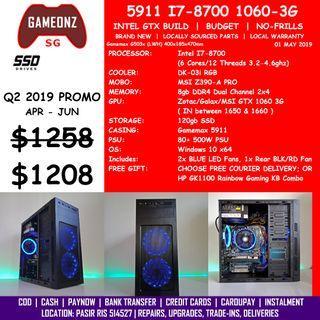 FREE DELIVERY BUDGET GAMING PC GAMEMAX 5911 INTEL I7-8700 Z390 GTX 1060 3G BUILD BUDGET5911 8700 GTX1060