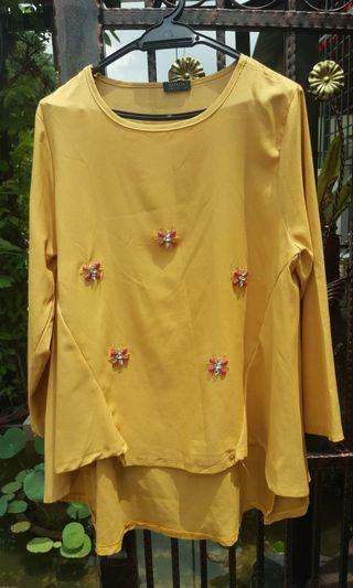 Blouse beaded top yellow