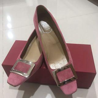 roger vivier法國鞋王 粉色麂皮 木頭根 方鞋 39號