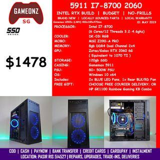 FREE DELIVERY BUDGET GAMING PC GAMEMAX 5911 INTEL I7-8700 Z390 RTX 2060 6G BUILD BUDGET5911 8700 RTX2060