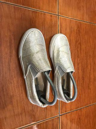 Vans inspired bench silver slip-on shoes