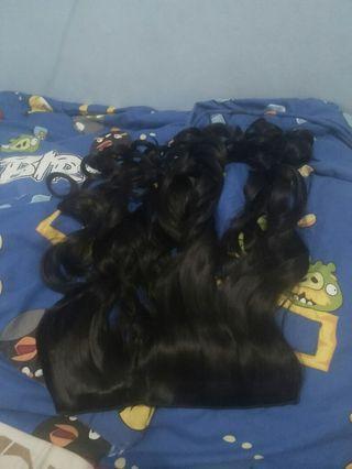 Preloved Hairclip Curly 60cm Hitam Ori Korea