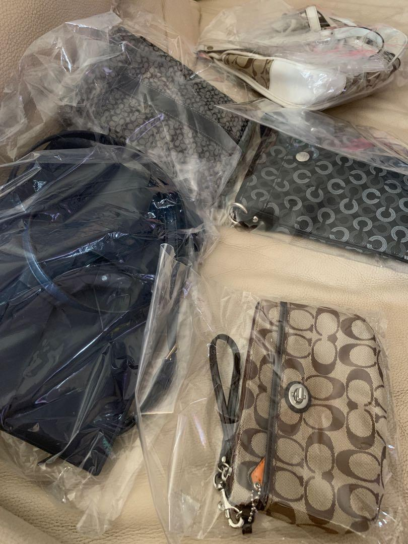 3 COACH SLING BAGS, 1 COUCH POUCH AND 1 CHARLES AND KEITH SLING BAG FOR $360