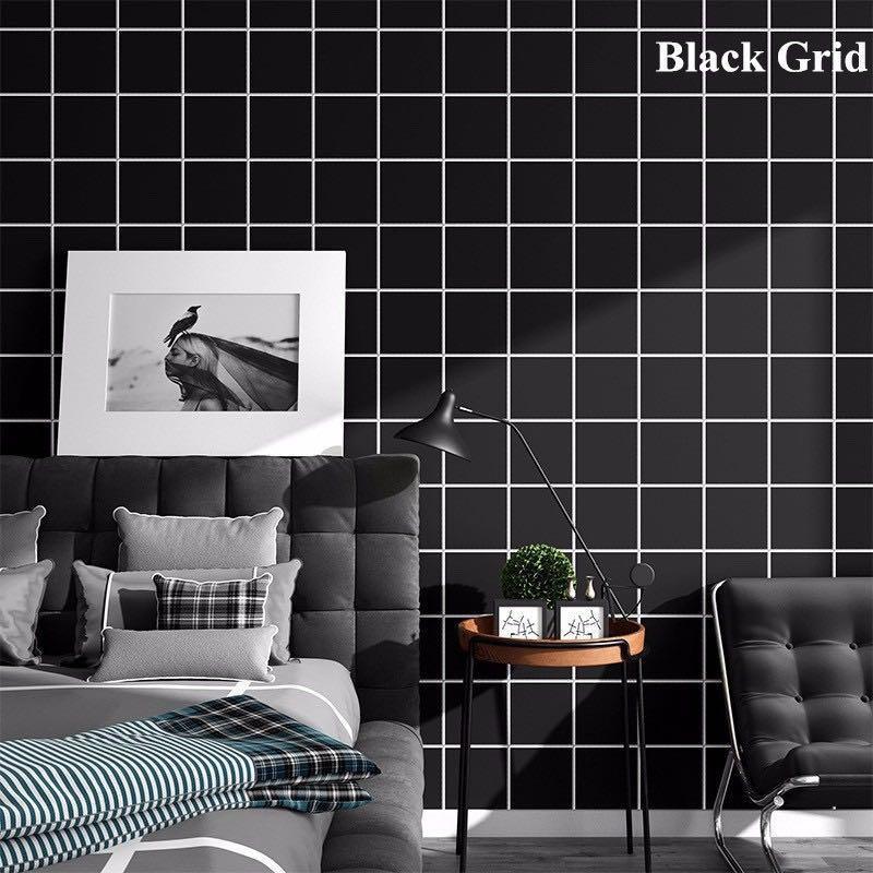 5m B&W rustic grid textured self adhesive wallpaper