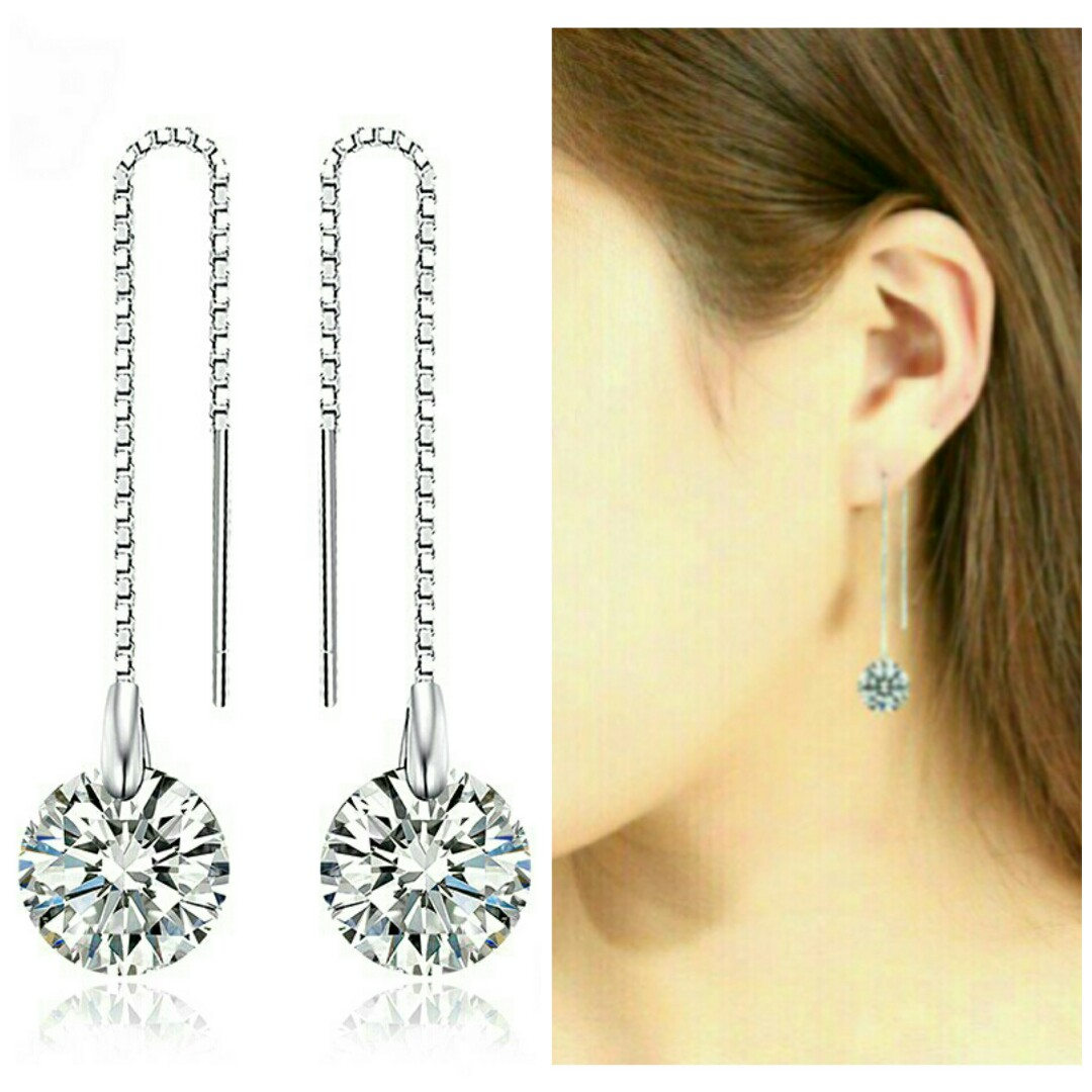 976a3a8ab 925 Sterling Silver Elegant Crystal Dangle Drop Earrings, Women's ...