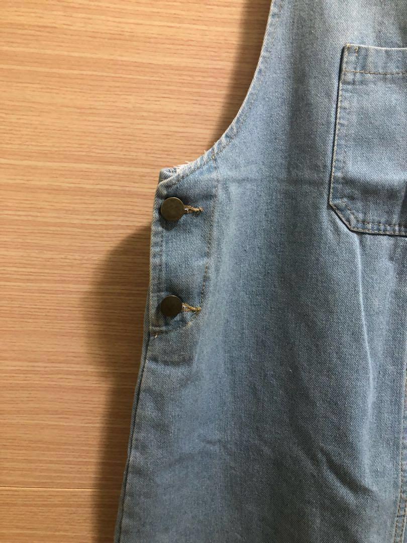 牛仔吊帶裙 #丹寧 #短裙 #淺藍
