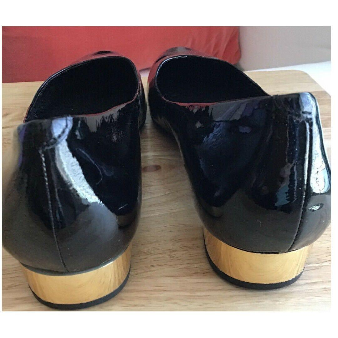 Audrey Brooke Size 8.5 Black Patent Flats w/Gold Accent Heel NWOB