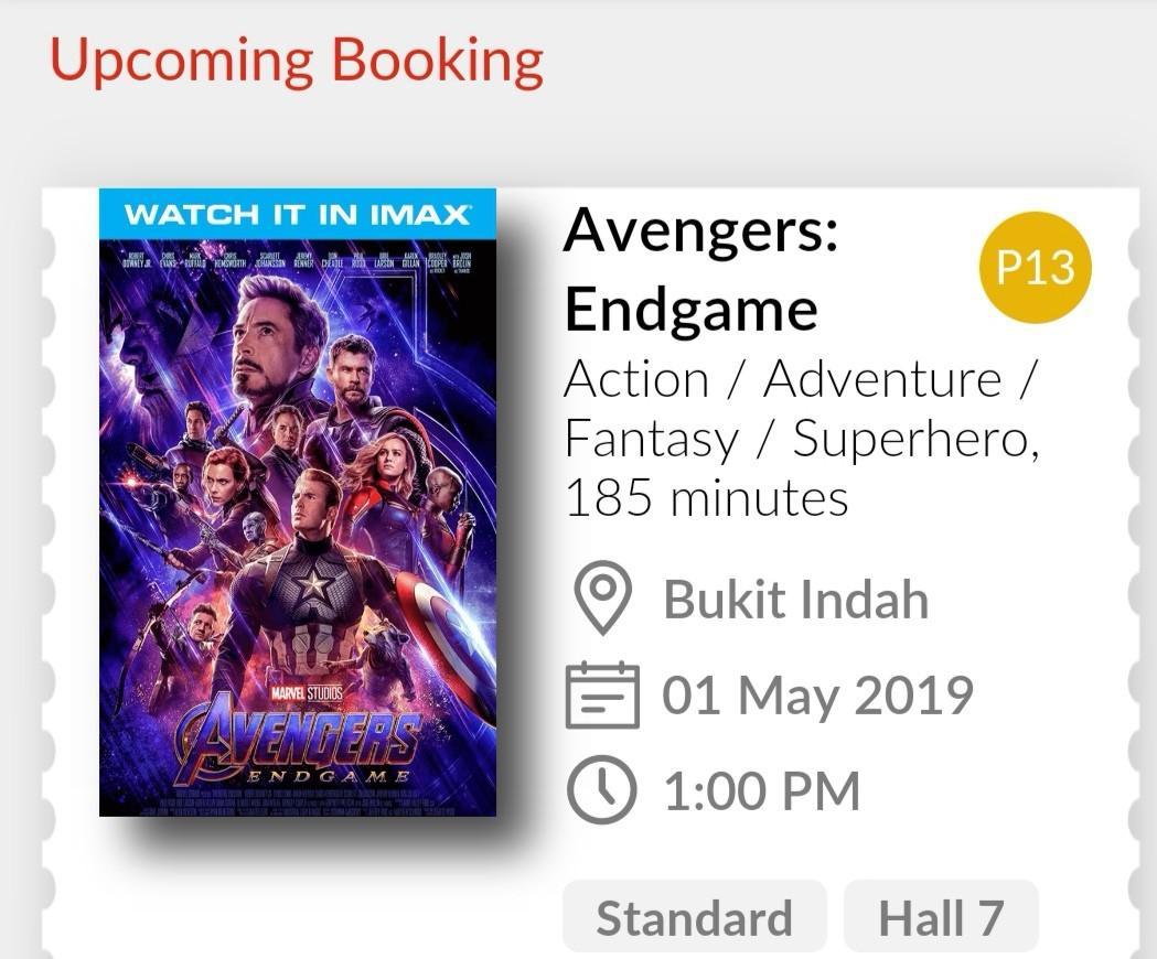 Avengers Movie Ticket (bkt indah)