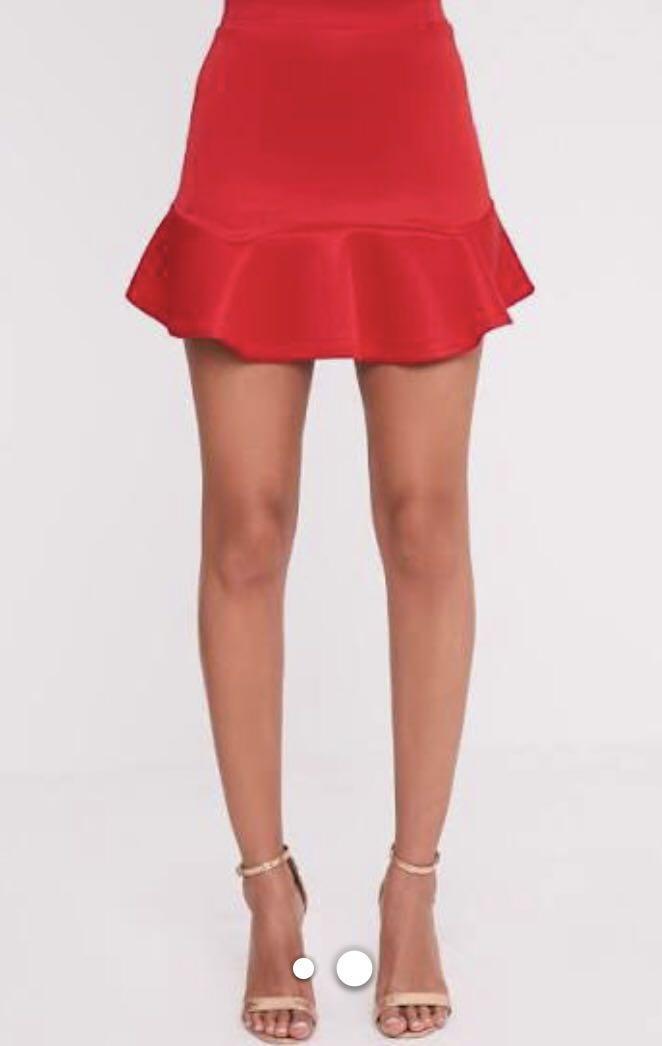 Bardot red skirt