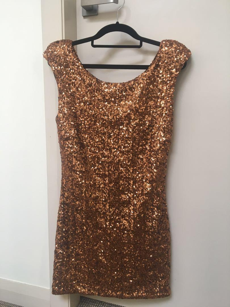 Bronze Sparkly Sequin Minkpink Dress