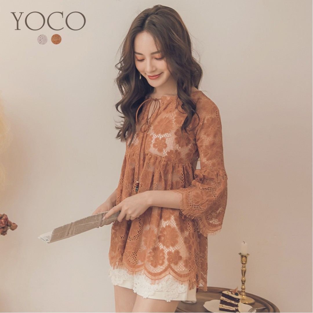 2f8463ea98e 🌸YOCO Floral Mesh Lace Flutter Sleeve Beaded Tassel Tie Dress Top ...