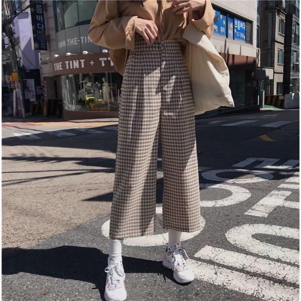 Checkered Brown Plaid Wide-Legged Long Pants Trouser