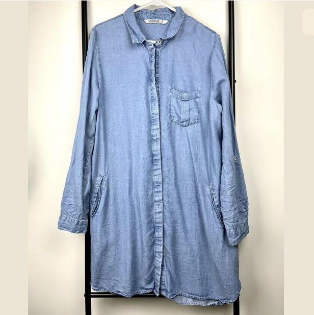 Cotton On M blue chambray denim women shirt dress winter basic business casual