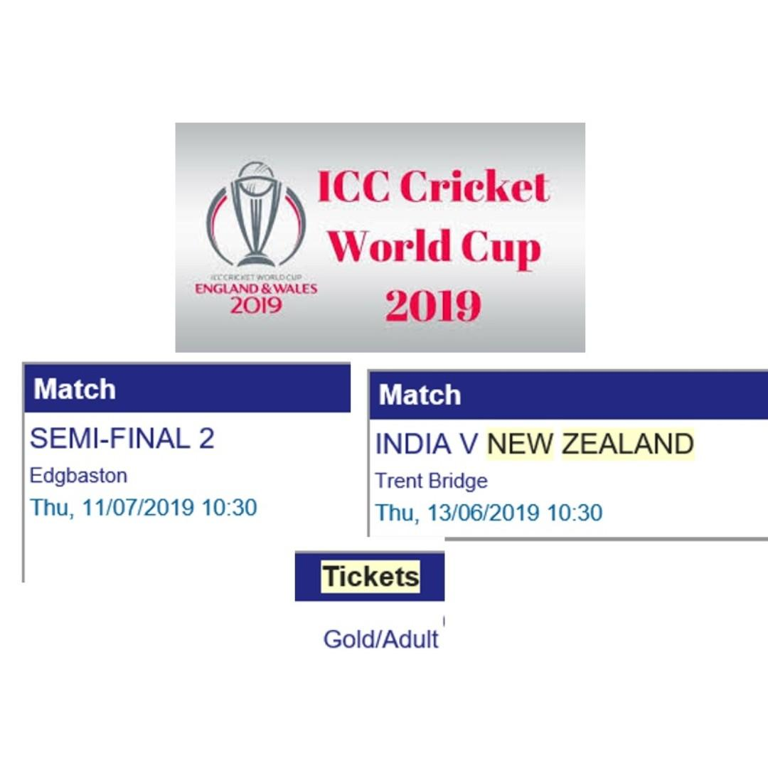Cricket World Cup 2019 Tickets India And Semifinal