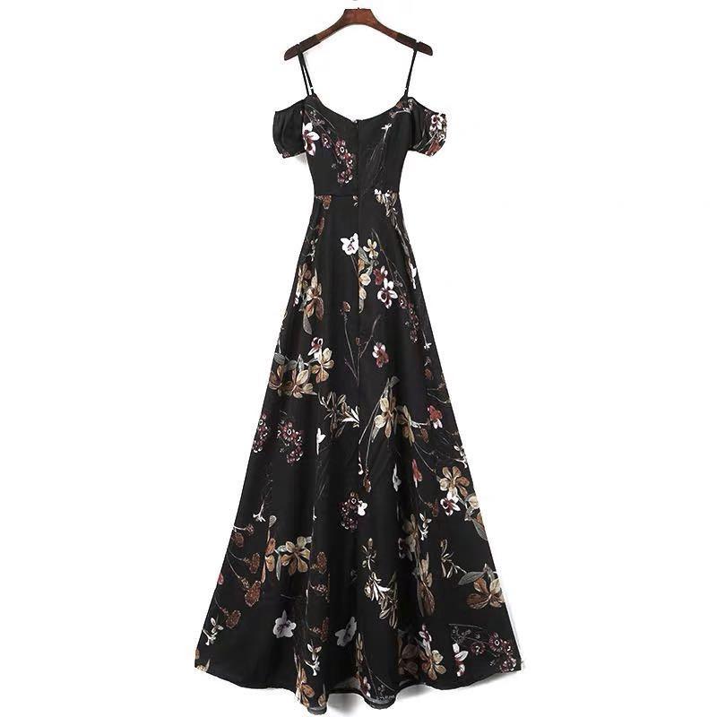 floral criss cross maxi off shoulders dress