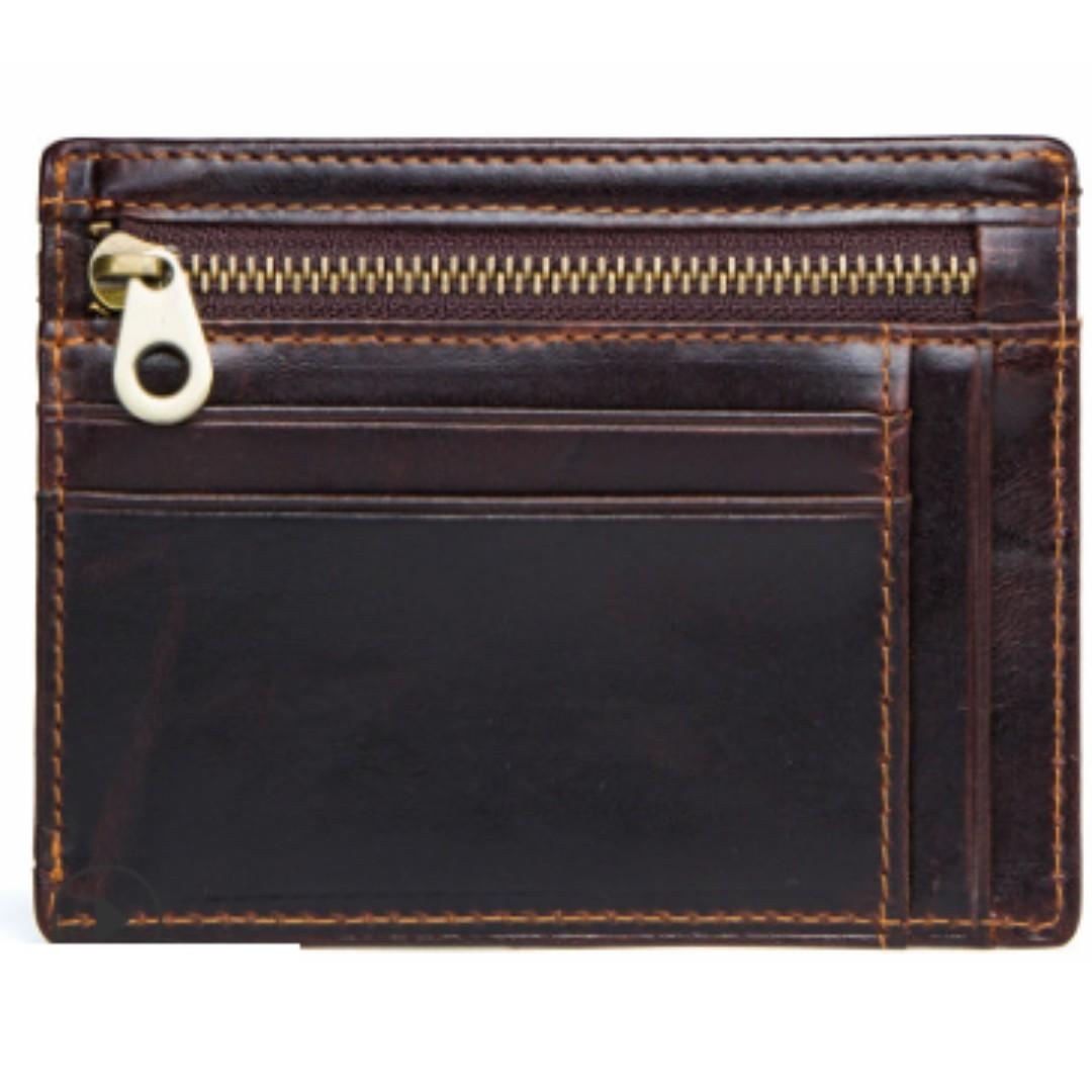 [In Stock]  Genuine Leather RFID Wallet with Zip - Easy access to Cards and Cash and even Coins. For Men and Women. Free Delivery!