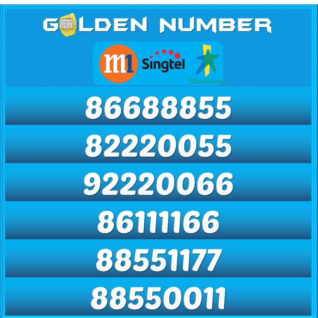 Golden Mobile Numbers for Sale PostPaid/Prepaid Starhub, M1, Singtel | Golden Numbers for Sale |
