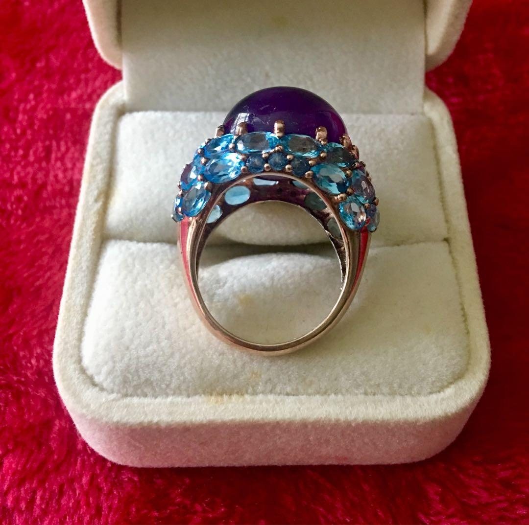 Gorgeous cabochon amethyst cocktail ring