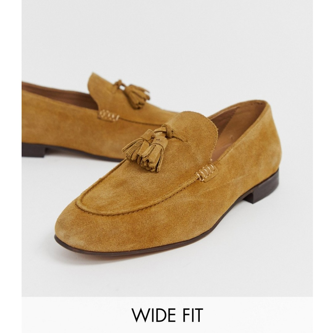 5fca8b1bf93 H by Hudson Wide Fit Bolton tassel loafers in camel suede, Men's ...