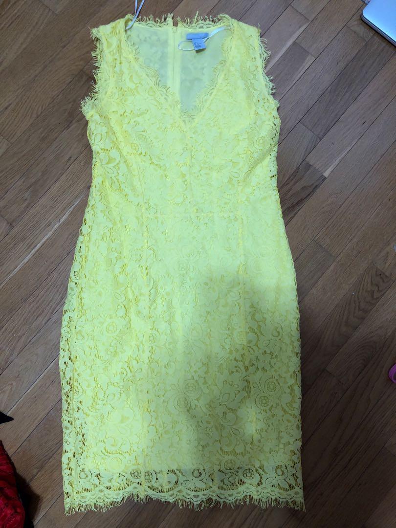 H&M size small bright yellow pencil dress