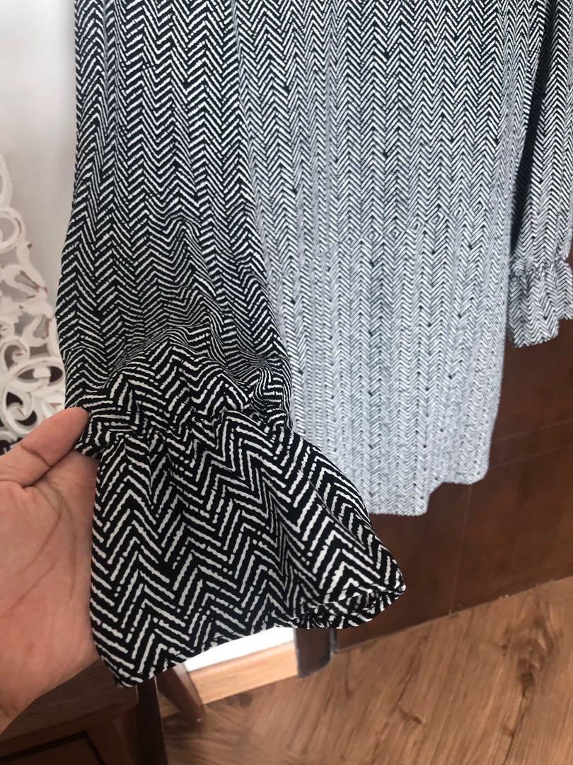 Midi dress MANGO black and white print