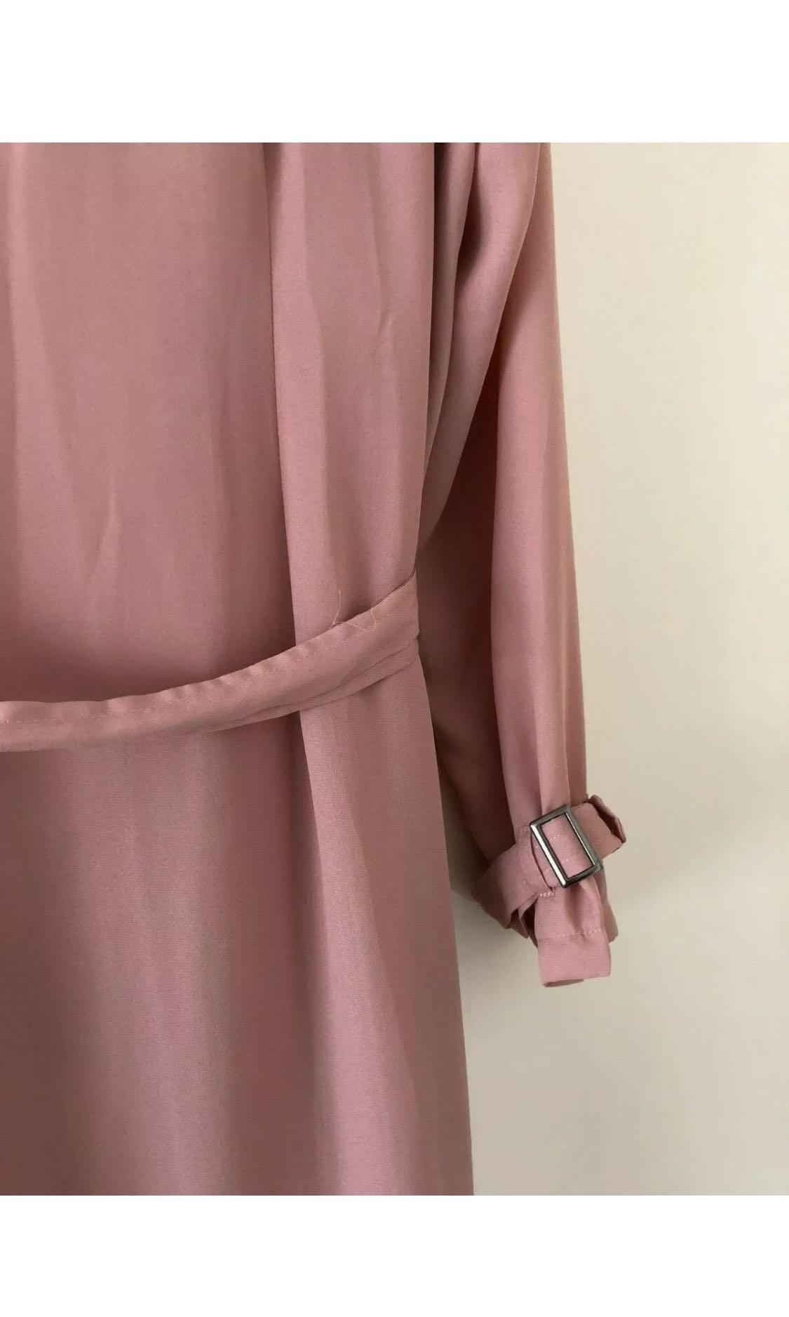 MISSGUIDED PLUS Sheer Pink Maxi Trench Coat Sz 16 - NWT