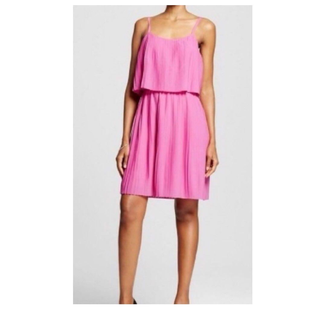 Pleated Short Layered Flutter Stap Graduations/Weddings/Cocktail Party Dress Pink Size Med.