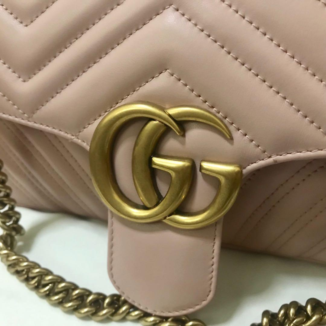 Preloved Small Gucci Marmont Flap 26cm (pink nude)