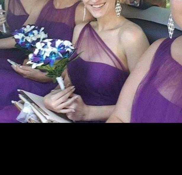 Purple one shoulder sheer formal/ bridesmaid maxi dress