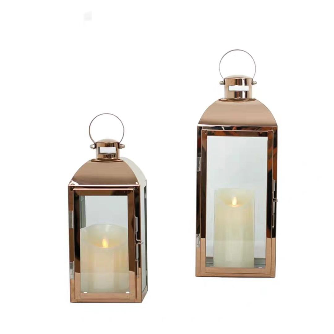 RENTAL: D79 ROSE GOLD CHROME LAMPS (2 SIZES IN A SET)