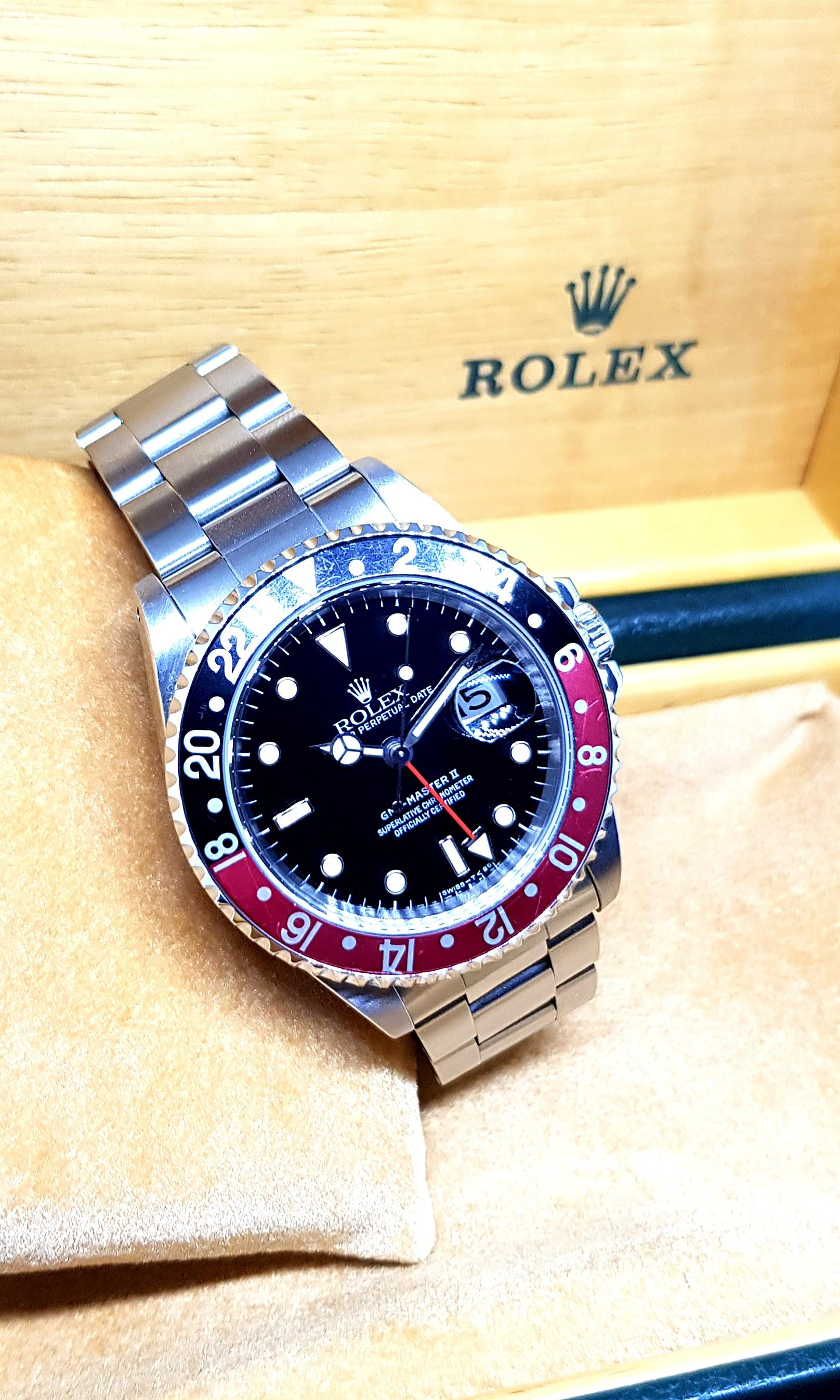 """(NOT AVAILABLE) Rolex GMT Master 2 """"COKE"""" REF: 16710"""