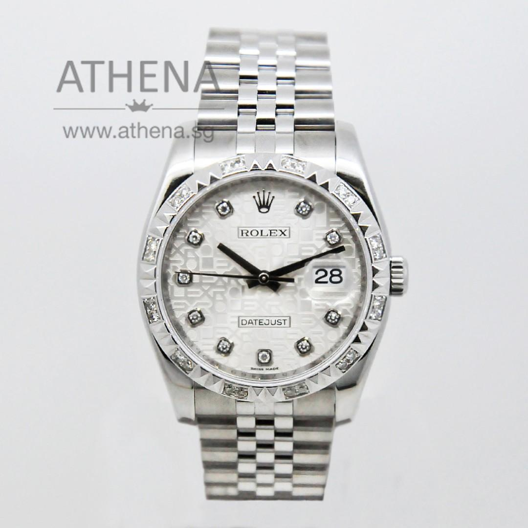 """ROLEX MENS OYSTER PERPETUAL DATEJUST """"Z"""" SERIES """"SILVER JUBILEE DIAMOND DIAL"""" WITH CHAPTER RING & CUSTOMIZE DIAMOND BEZEL 116234 JGWRL_174"""