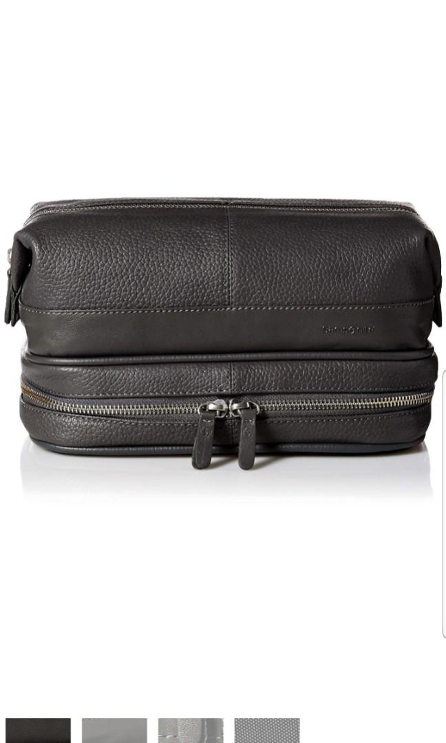 Samsonite Black Leather Men's Serene Large Toiletries Toiletry Travel Holiday Doctors Medicine Wash Bag