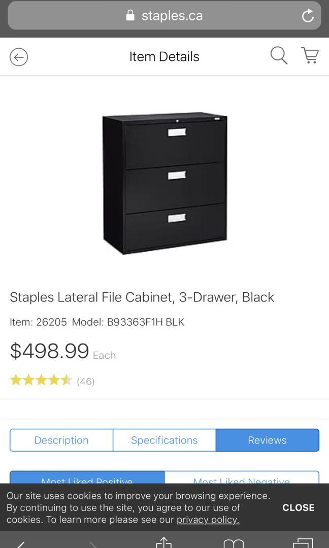 Staples lateral filing cabinet 3 door black,comes with new keys!!!