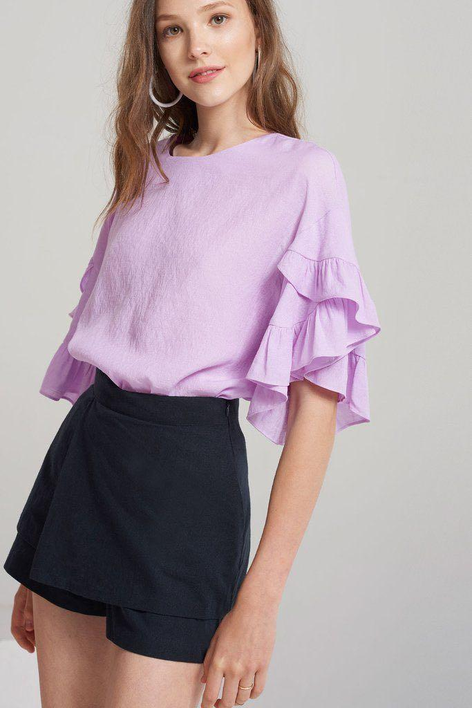 Storets: White (not purple) Clare Tiered Ruffle Sleeve Blouse