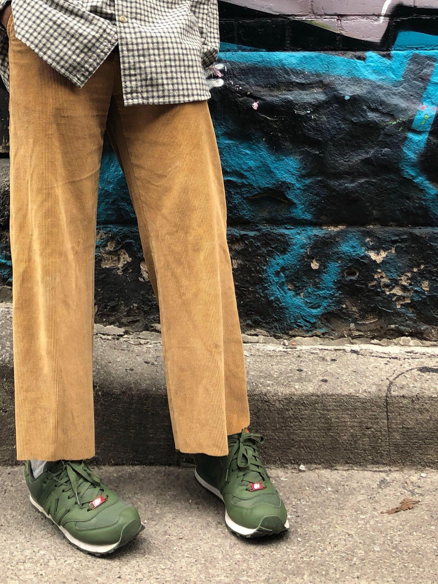 Tan Corduroy Cropped flare-out Pants