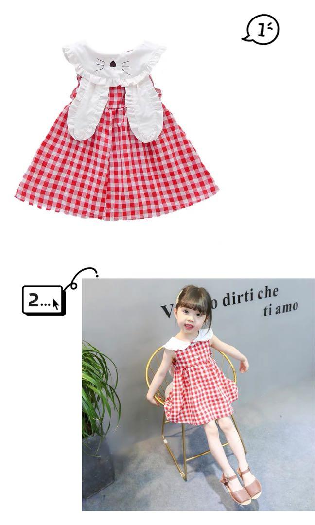 Toddler Girl Cotton Plaid Dress Sleeveless Kids Summer