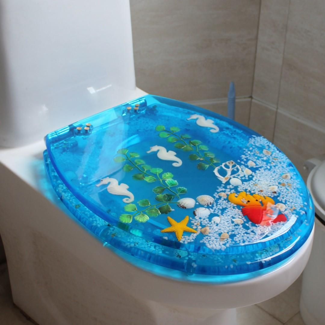 TOILET SEAT COVER ARCYLIC SUPER STRONGHOLD SEA CREATURES