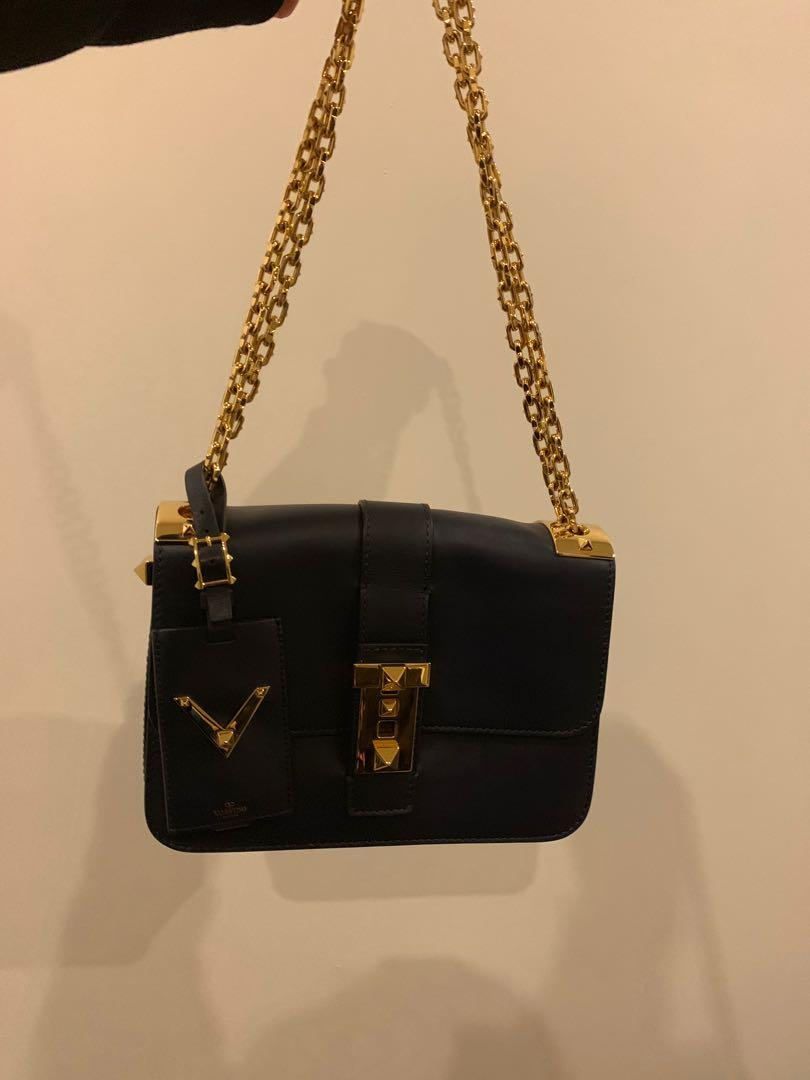 VALENTINO rockstar rock stud navy tote bag almost new