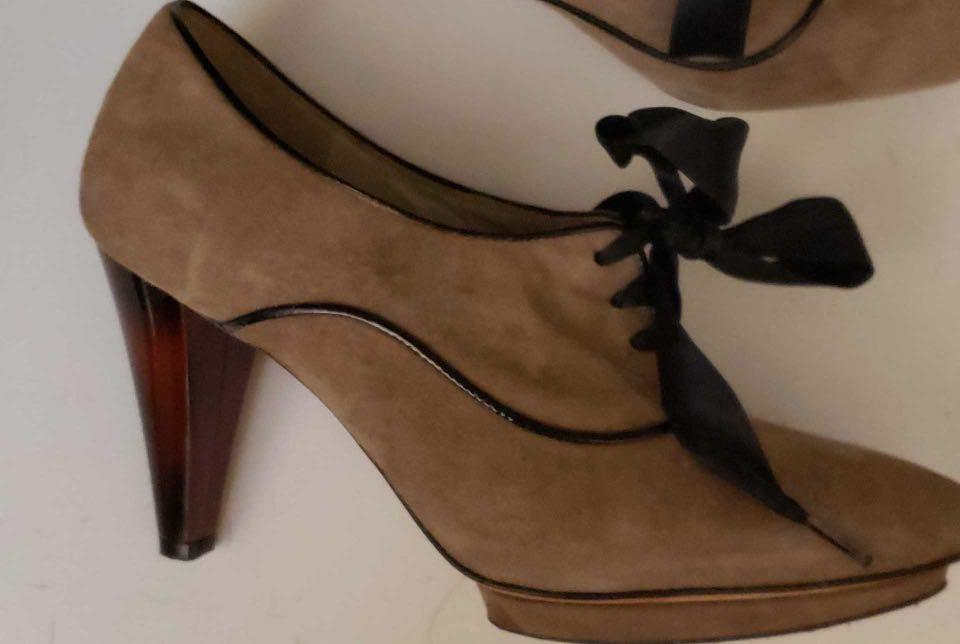 Vintage suede heels with satin ribbon laces