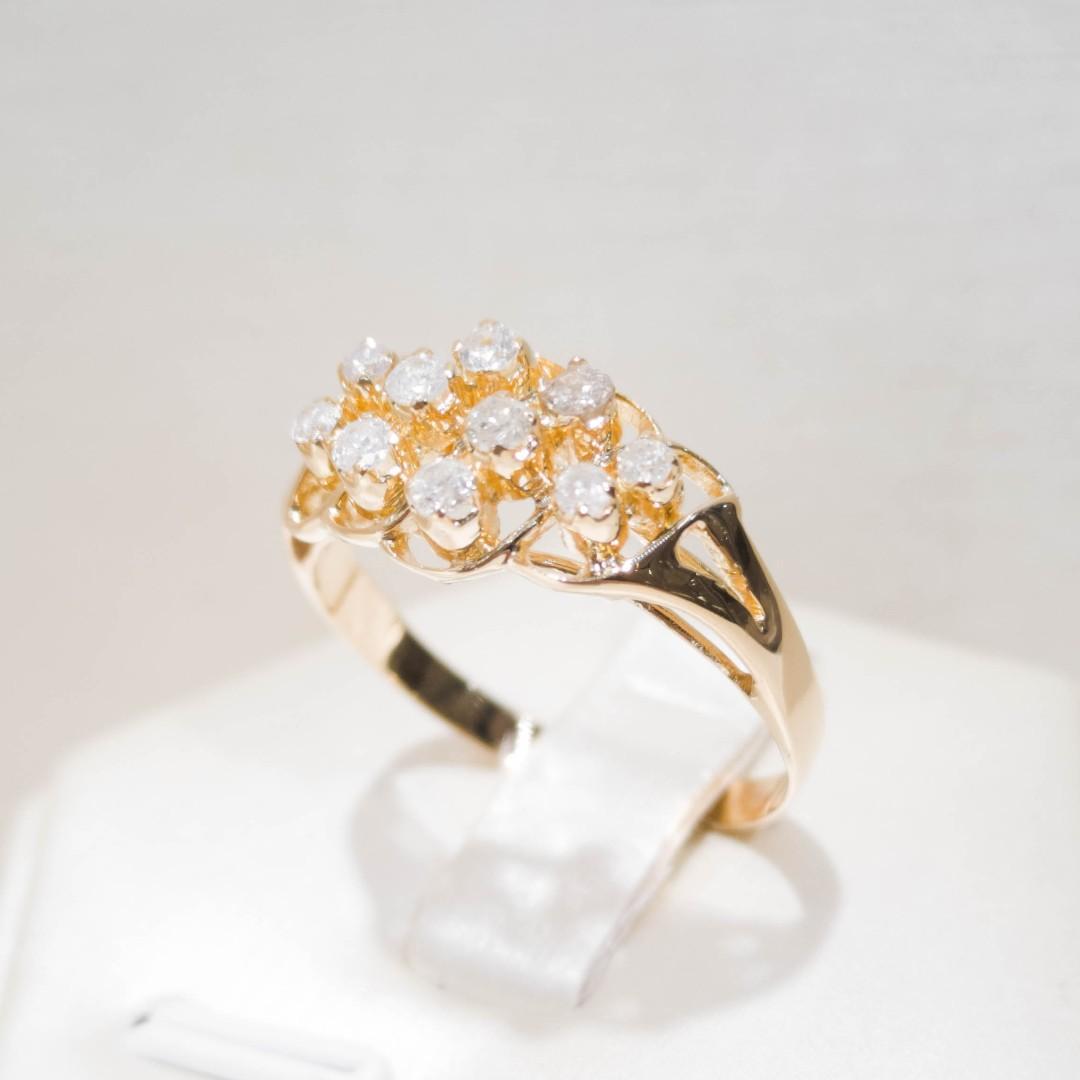 Yellow Gold Lattice Diamond Ring