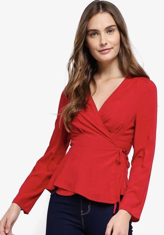 Zalora Basics Wrap Blouse, Women's Fashion, Clothes, Tops on
